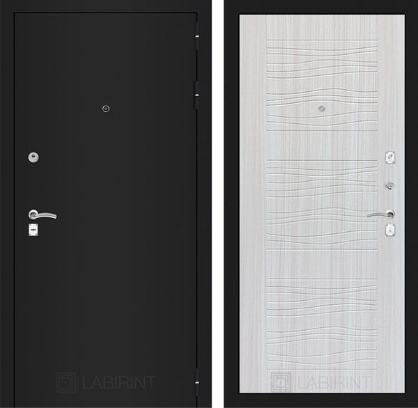 Входная металлическая дверь Лабиринт Классик 6 (Шагрень черная / Сандал белый)