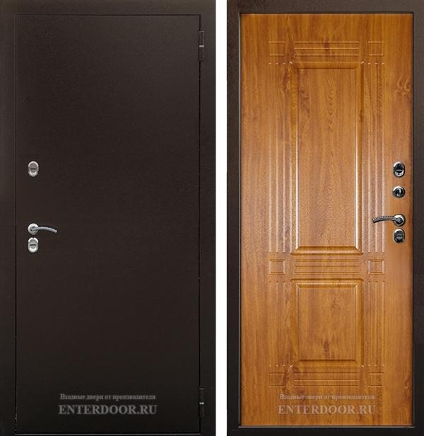 Уличная металлическая дверь с терморазрывом Аргус Тепло-1 (Молотковая коричневая / Дуб янтарный)