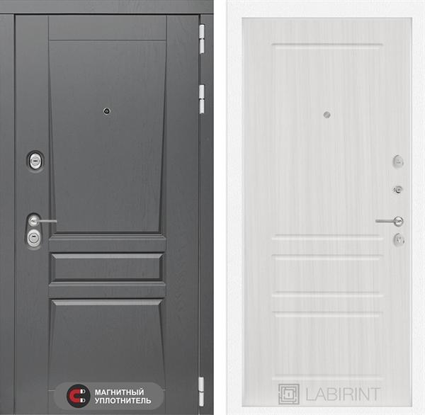 Входная металлическая дверь Лабиринт Платинум 3 (Альберо Грей / Сандал белый)