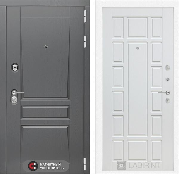 Входная металлическая дверь Лабиринт Платинум 12 (Альберо Грей / Белое дерево)