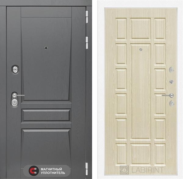 Входная металлическая дверь Лабиринт Платинум 12 (Альберо Грей / Дуб белёный)
