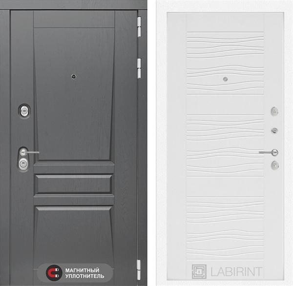Входная металлическая дверь Лабиринт Платинум 6 (Альберо Грей / Белое дерево)
