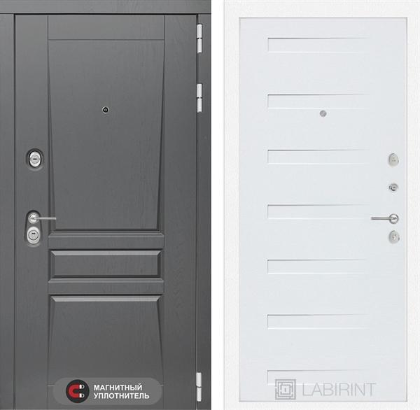 Входная металлическая дверь Лабиринт Платинум 14 (Альберо Грей / Дуб кантри белый)