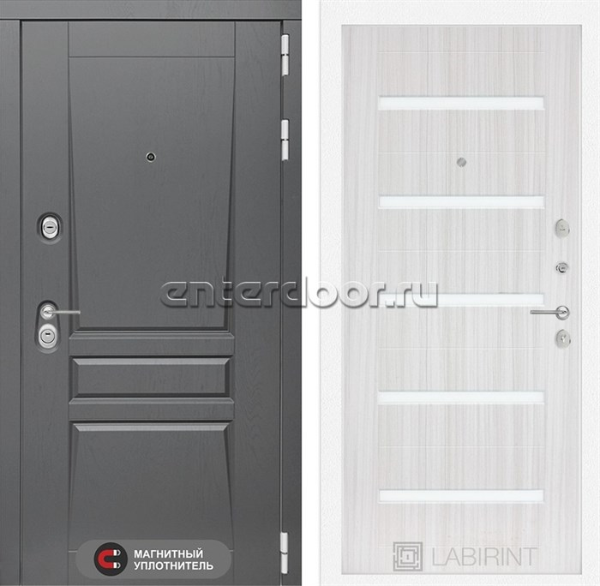 Входная металлическая дверь Лабиринт Платинум 1 (Альберо Грей / Сандал белый)