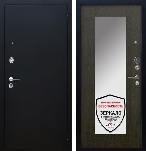 Входная металлическая дверь Аргус Люкс ПРО Милли с Зеркалом (Черный шелк / Венге)