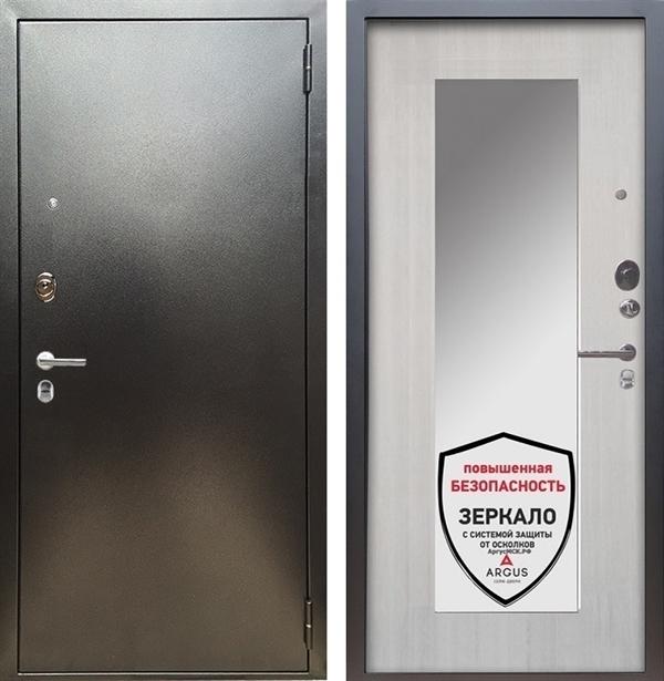 Входная металлическая дверь Аргус Люкс ПРО Милли с Зеркалом (Серебро антик / Ларче светлый)