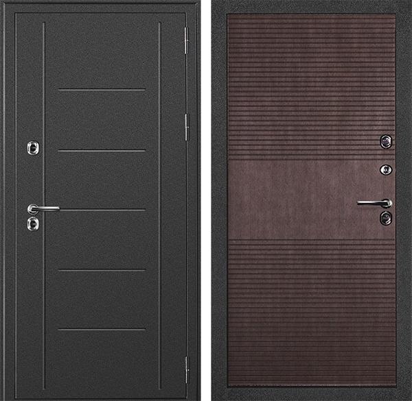 Уличная дверь с терморазрывом Дверной Континент Термаль (Серебристый антик / Венге)