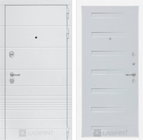 Входная металлическая дверь Лабиринт Трендо 14 (Белый камень / Дуб кантри белый)