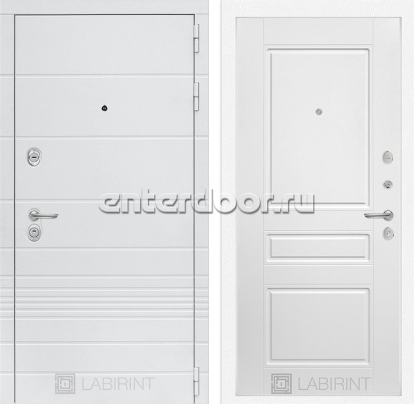 Входная металлическая дверь Лабиринт Трендо 3 (Белый камень / Белый софт)