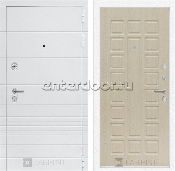 Входная металлическая дверь Лабиринт Трендо 4 (Белый камень / Дуб белёный)