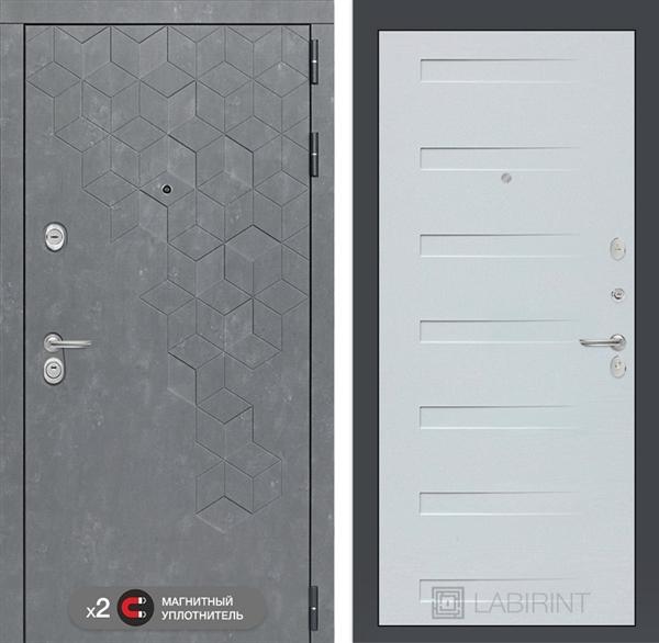 Входная металлическая дверь Лабиринт Бетон 14 (Бетон песочный / Дуб кантри белый)