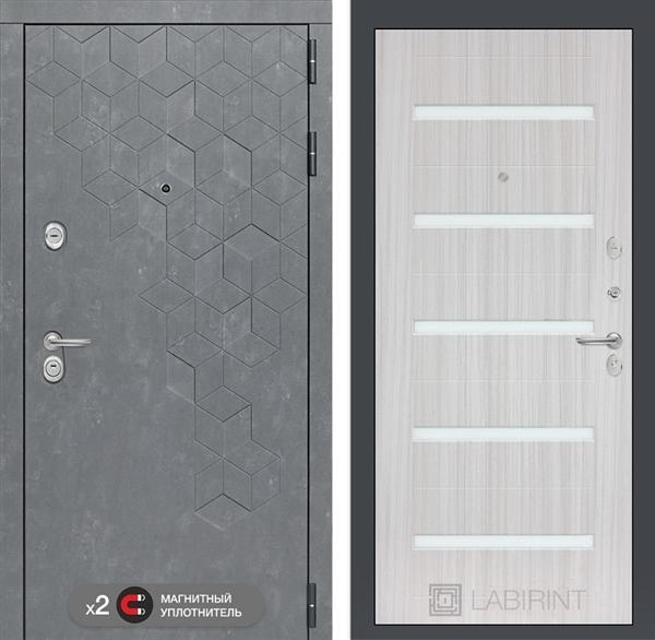 Входная металлическая дверь Лабиринт Бетон 1 (Бетон песочный / Сандал белый)