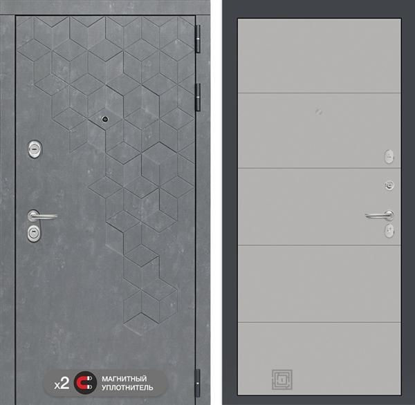 Входная металлическая дверь Лабиринт Бетон 13 (Бетон песочный / Грей софт)
