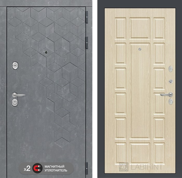 Входная металлическая дверь Лабиринт Бетон 12 (Бетон песочный / Дуб белёный)