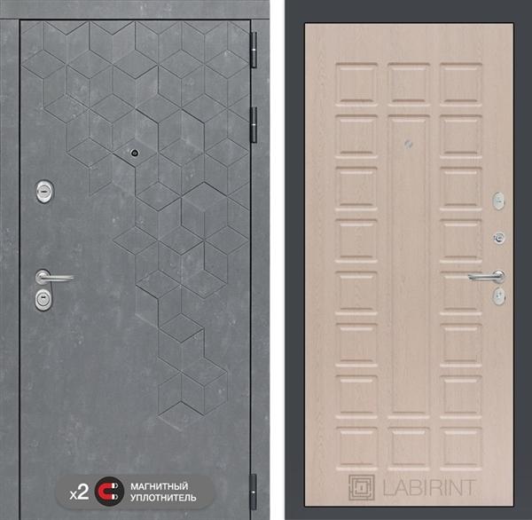 Входная металлическая дверь Лабиринт Бетон 4 (Бетон песочный / Дуб белёный)
