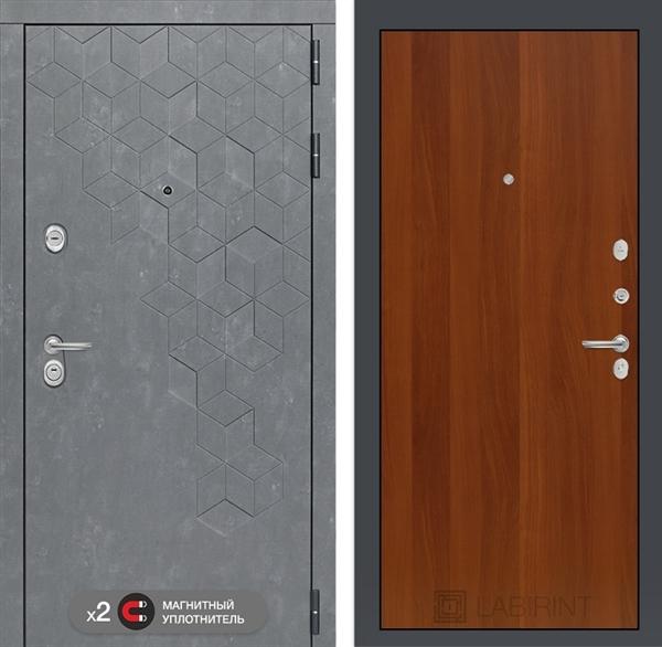 Входная металлическая дверь Лабиринт Бетон 5 (Бетон песочный / Итальянский орех)
