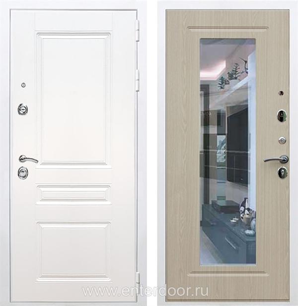 Входная металлическая дверь Армада Премиум Н с Зеркалом (Белый / Белёный дуб)