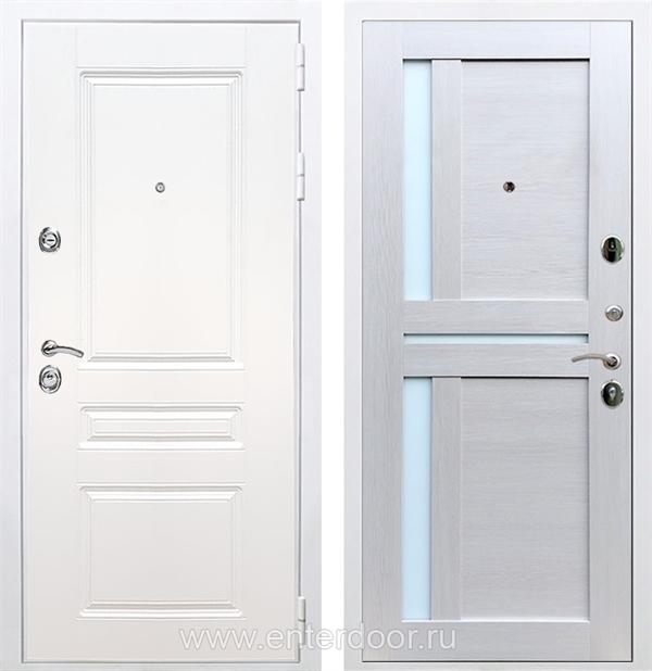 Входная металлическая дверь Армада Премиум Н СБ-18 (Белый / Лиственница беж) стекло матовое