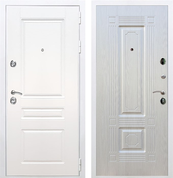 Входная металлическая дверь Армада Премиум Н ФЛ-2 (Белый / Лиственница беж)