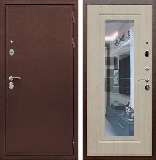 Входная металлическая дверь Армада 5А с зеркалом (Медный антик / Беленый дуб)