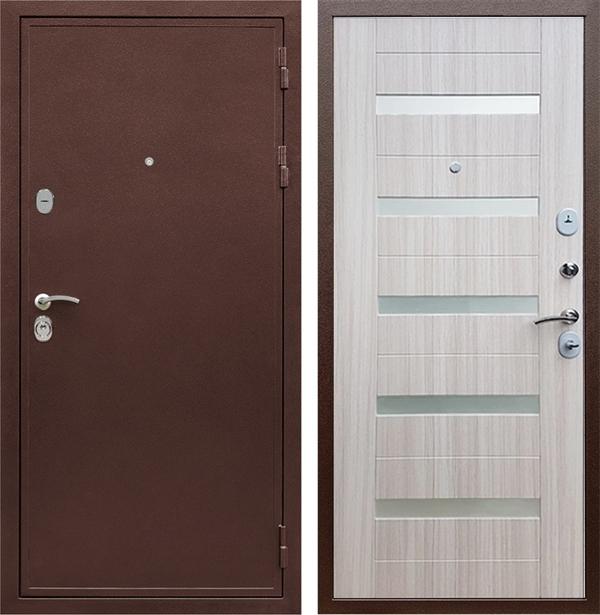 Входная металлическая дверь Армада 5А СБ-14 (Медный антик / Сандал белый) стекло матовое