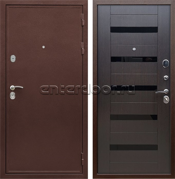Входная металлическая дверь Армада 5А СБ-14 (Медный антик / Венге) стекло черное