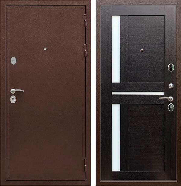 Входная металлическая дверь Армада 5А СБ-18 (Медный антик / Венге) стекло матовое