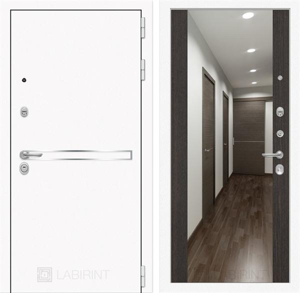 Входная металлическая дверь Лабиринт Line White с Зеркалом Максимум (Шагрень белая / Венге)