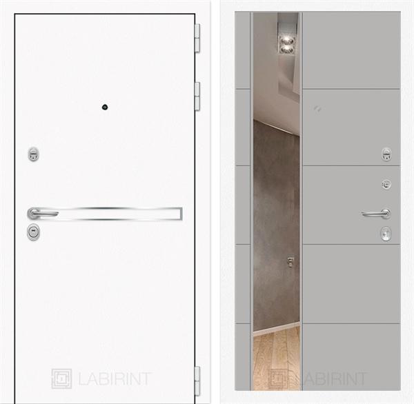 Входная металлическая дверь Лабиринт Line White 19 Зеркало (Шагрень белая / Грей софт)