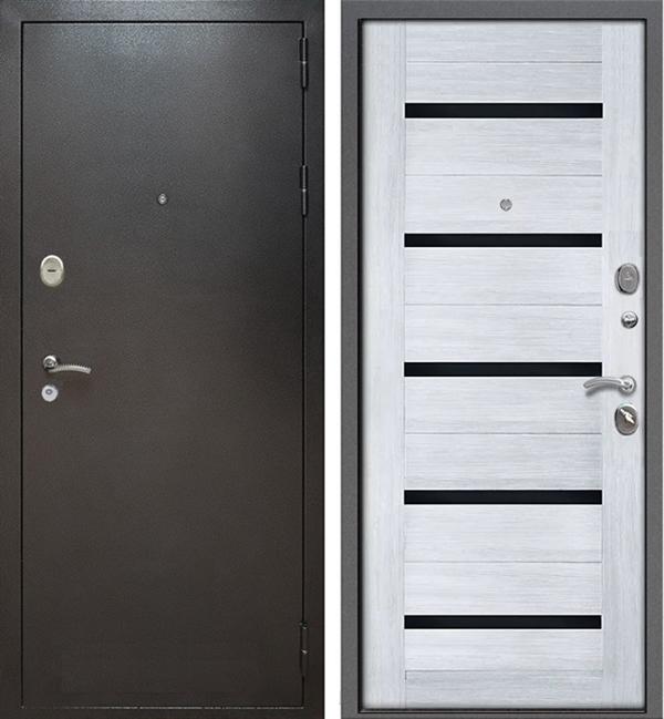 Входная металлическая дверь Армада Титан (Антик серебро / Сандал белый). Вид снаружи и внутри.