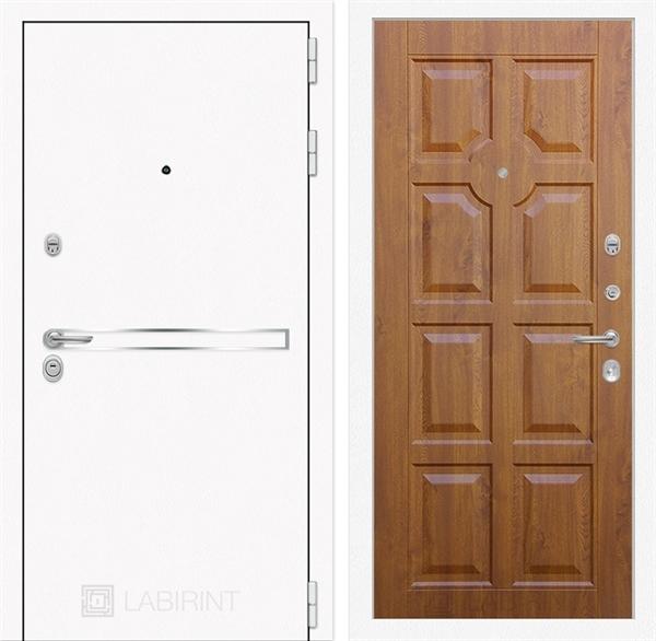 Входная металлическая дверь Лабиринт Line White 17 (Шагрень белая / Золотой дуб)