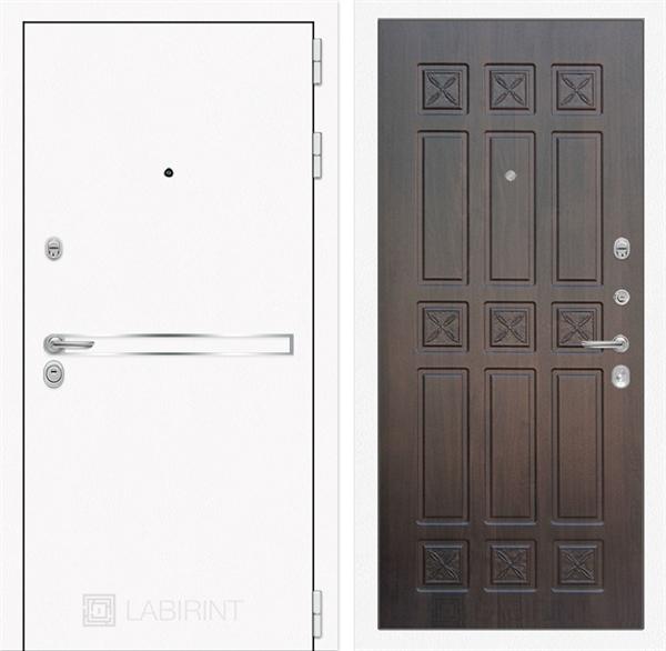 Входная металлическая дверь Лабиринт Line White 16 (Шагрень белая / Алмон 28)