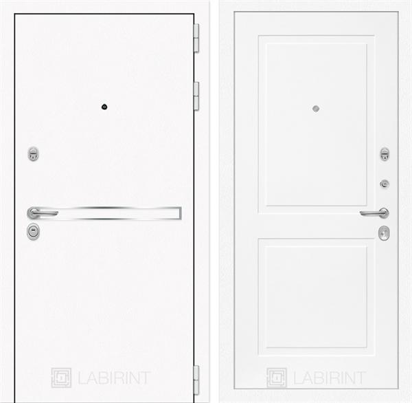 Входная металлическая дверь Лабиринт Line White 11 (Шагрень белая / Белый софт)