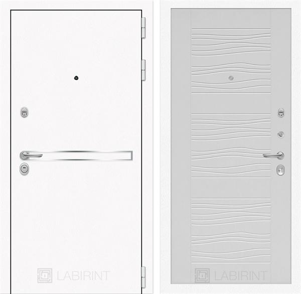 Входная металлическая дверь Лабиринт Line White 6 (Шагрень белая / Белое дерево)