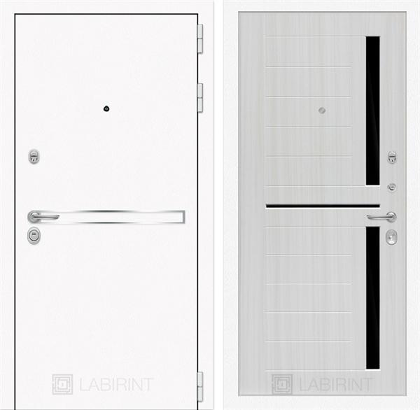 Входная металлическая дверь Лабиринт Line White 2 (Шагрень белая / Сандал белый)