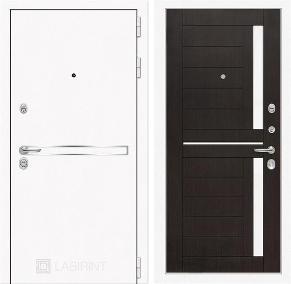 Входная металлическая дверь Лабиринт Line White 2 (Шагрень белая / Венге)