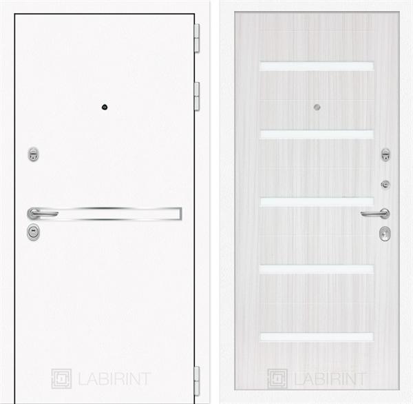 Входная дверь Лабиринт Line White 1 (Шагрень белая / Сандал белый) - фото 47066