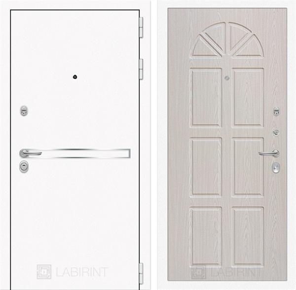Входная металлическая дверь Лабиринт Line White 15 (Шагрень белая / Алмон 25)