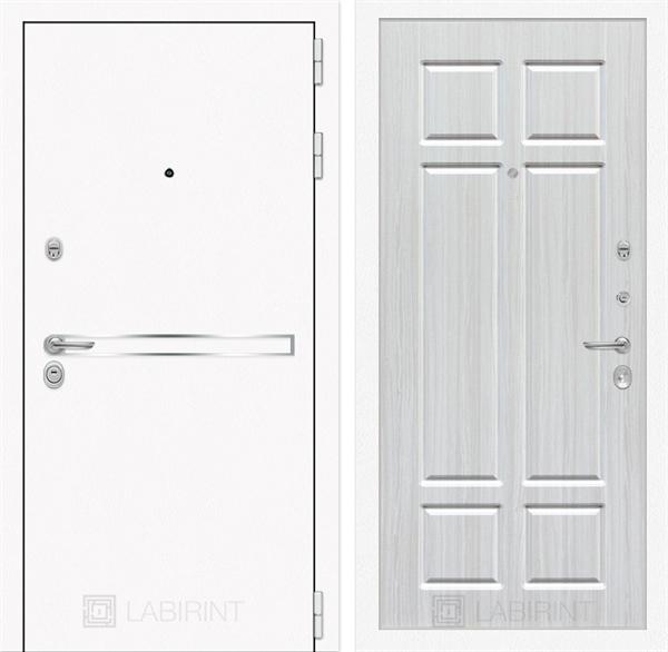 Входная металлическая дверь Лабиринт Line White 8 (Шагрень белая / Кристалл вуд)