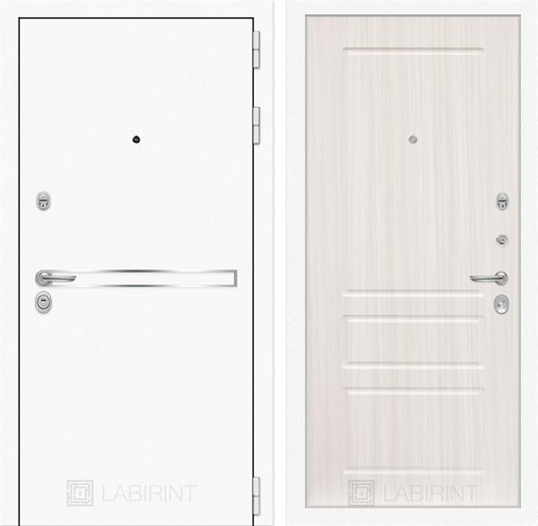 Входная металлическая дверь Лабиринт Line White 3 (Шагрень белая / Сандал белый)