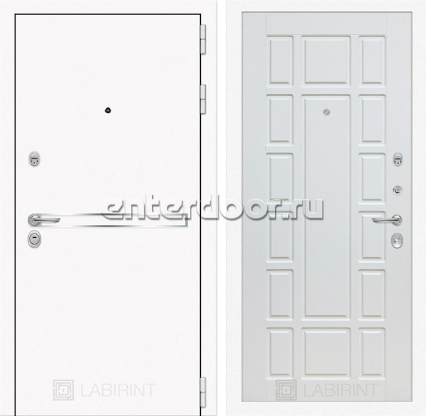 Входная металлическая дверь Лабиринт Line White 12 (Шагрень белая / Белое дерево)