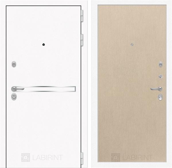 Входная металлическая дверь Лабиринт Line White 5 (Шагрень белая / Венге светлый)