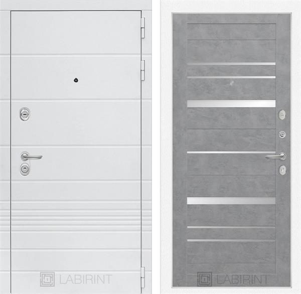 Входная металлическая дверь Лабиринт Трендо 20 (Белый камень / Бетон светлый)