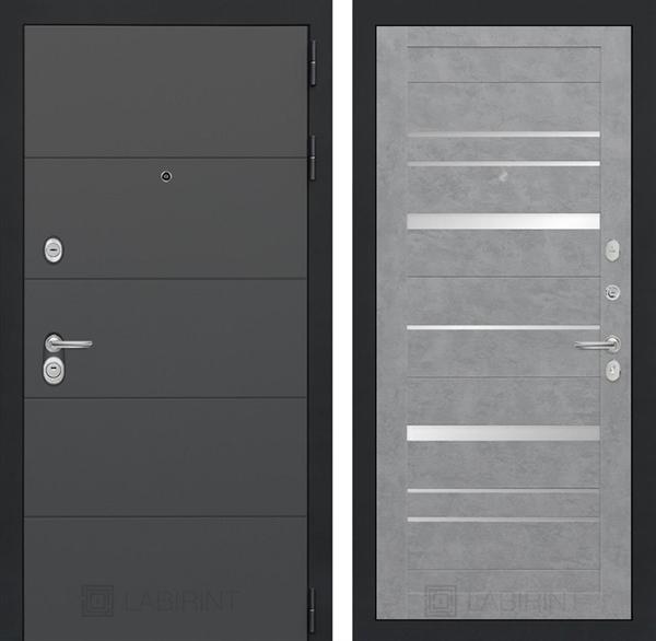 Входная металлическая дверь Лабиринт Арт 20 (Графит софт / Бетон светлый)