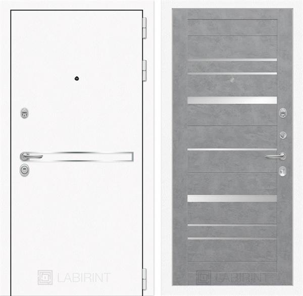 Входная металлическая дверь Лабиринт Line White 20 (Шагрень белая / Бетон светлый)