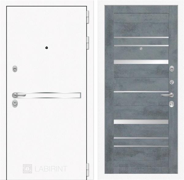 Входная металлическая дверь Лабиринт Line White 20 (Шагрень белая / Бетон темный)