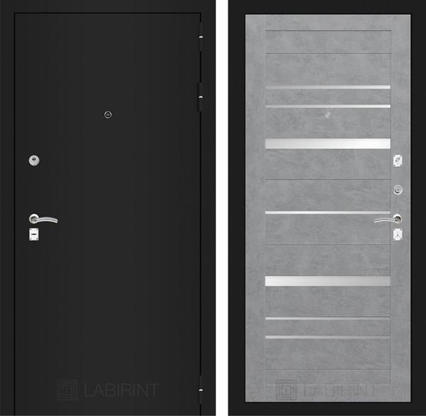 Входная металлическая дверь Лабиринт Классик 20 (Шагрень черная / Бетон светлый)