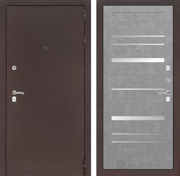 Входная металлическая дверь Лабиринт Классик 20 (Антик медный / Бетон светлый)