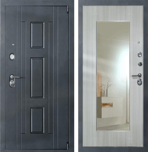 Входная металлическая дверь Джаз с Зеркалом (Креп чёрный / Лиственница)