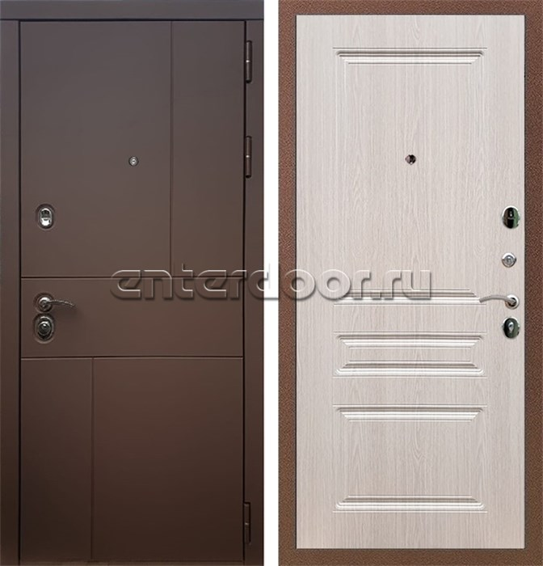 Входная металлическая дверь Армада Урбан ФЛ-243 (Ясень шоколадный / Беленый дуб)